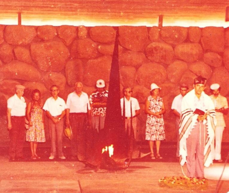 The Ceremony in Honor of Janis Lipke at Yad Vashem, on August 25, 1977. Standing from left: Avraham Lipchen, Hana Meller (nee Stern), unknown, Janis Lipke, David Gerber, Boris Cesvan.