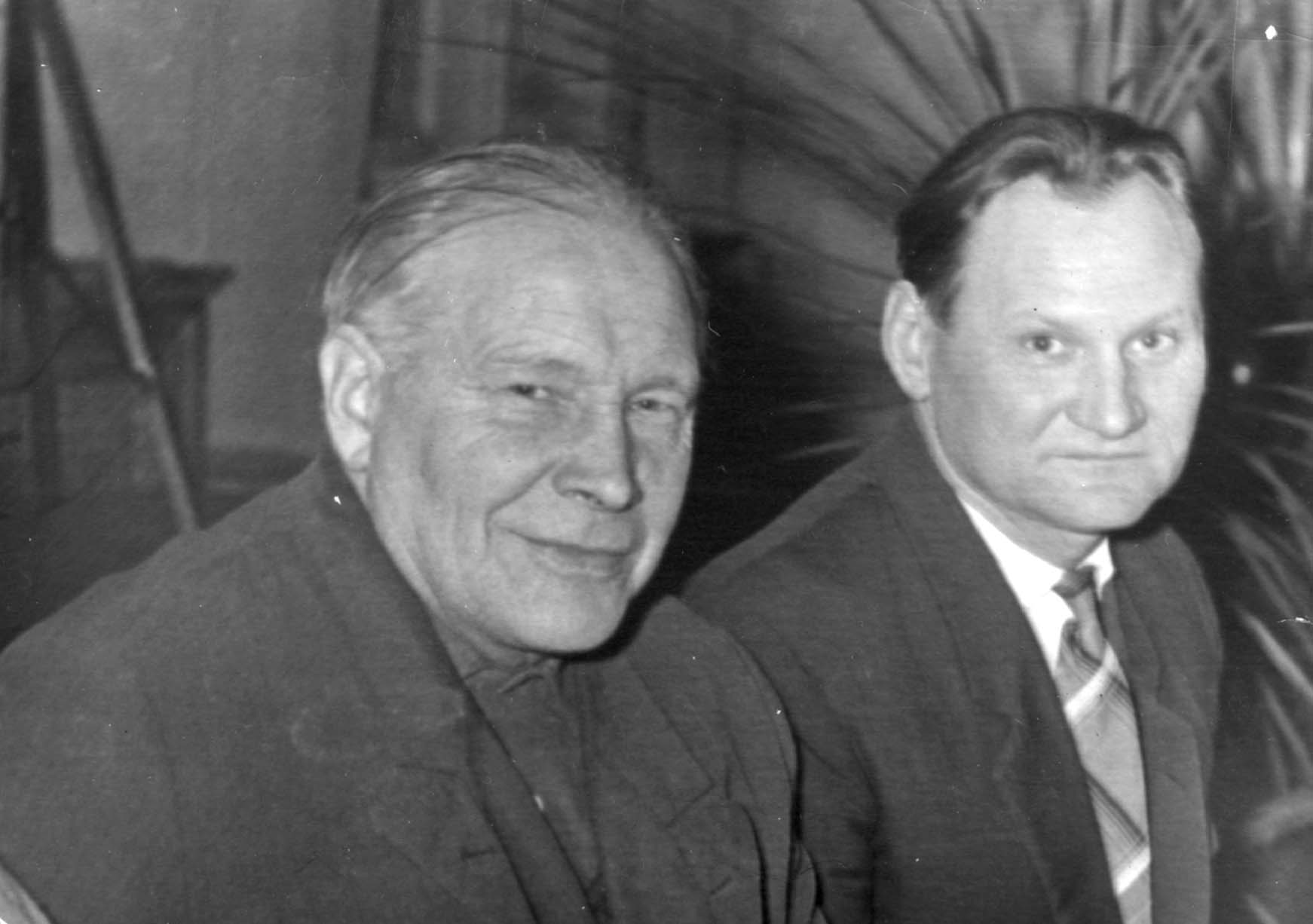 From right to left - Bruno Rozentals, Janis Lipke, 1960-ies