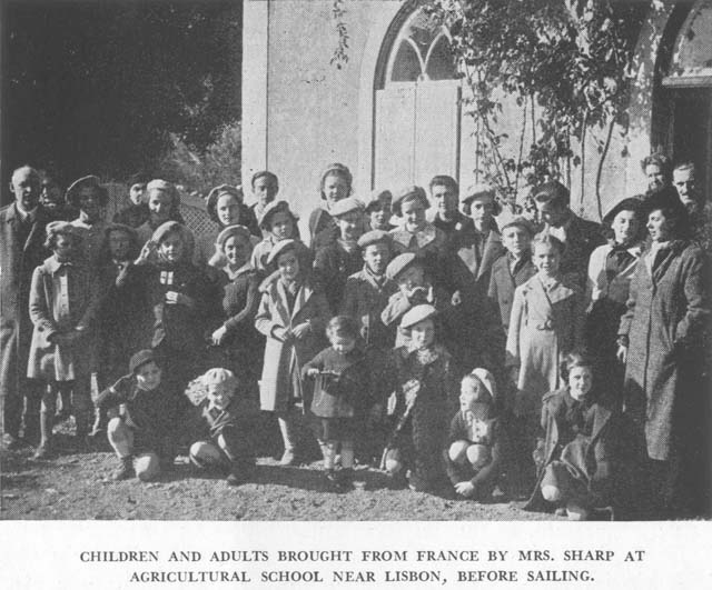 Children and adults brought from France by Mrs. Sharp at agricultural school. Near Lisbon, before sailing.