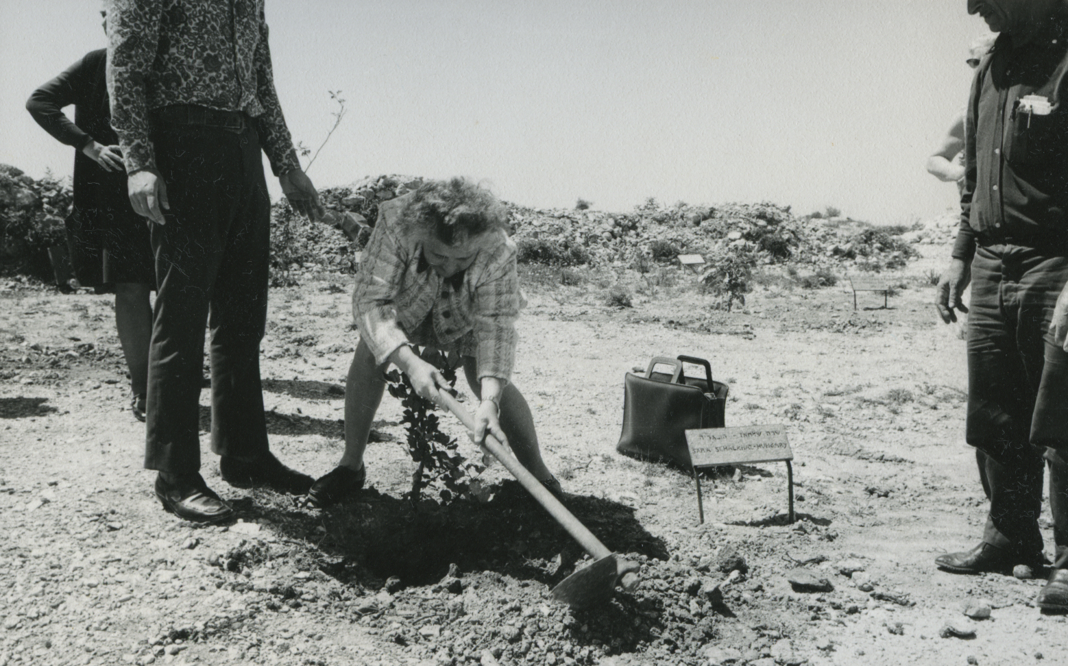 Tree Planting Ceremony in Honor of Sara Salkahazi. Yad Vashem. 02.04.1972