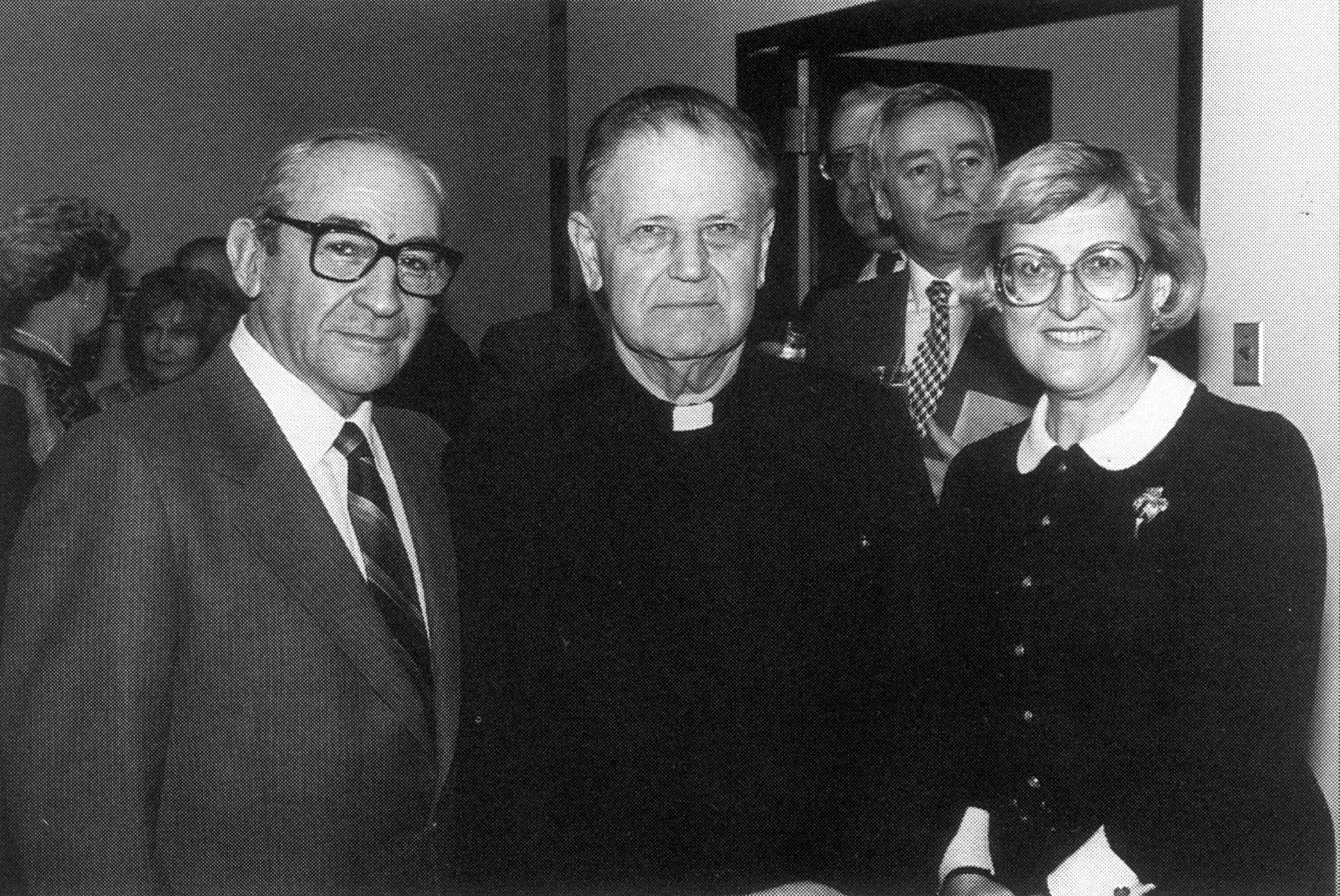 From left to right: David Packin, Fr. Kasimirs Vilnis, and prof. Gertrude Scheider