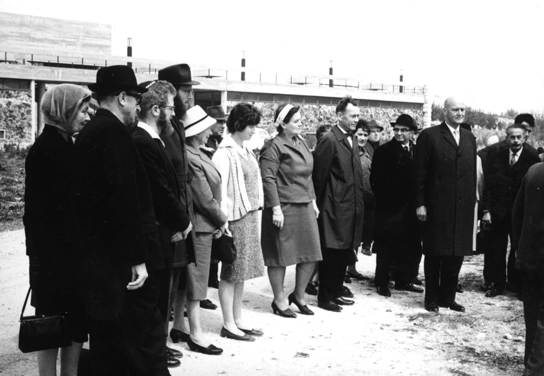 Tree Planting Ceremony in Honor of Ingebjorg Sletten (with the ribbon in her head, her husband Einar is next to her). Yad Vashem. 21.03.1967